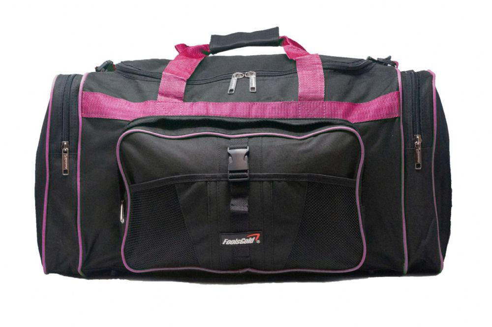 Large 50L foolsGold® Sports Holdall Bag - Black/Pink